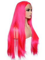 cheap -Vogue Queen Hot Pink Long Straight Synthetic Lace Front Wig Heat Resistant Fiber Daily Wearing For Women