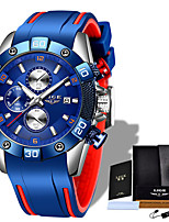 cheap -LIGE Men's Sport Watch Quartz Modern Style Sporty Silicone Water Resistant / Waterproof Noctilucent Analog Casual Outdoor - Black+Gloden Black Blue