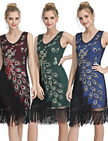 cheap -The Great Gatsby Vintage 1920s Flapper Dress Women's Sequins Tassel Fringe Costume Black / Red / Green Vintage Cosplay Party Homecoming Prom Sleeveless