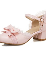 cheap -Girls' Flower Girl Shoes Suede Sandals Block Heel Sandals Big Kids(7years +) Bowknot / Buckle White / Pink / Beige Spring / Summer / Party & Evening