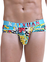 cheap -Men's Print Briefs Underwear - Normal Low Waist Light Blue M L XL