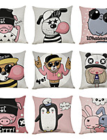 cheap -9 pcs Linen Pillow Cover, Personality Trend Animal Casual Modern Square Traditional Classic
