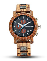 cheap -Men's Sport Watch Japanese Quartz Wood Wooden Analog Fashion Cool - Brown Coffee