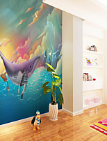 cheap -Custom Self-adhesive Mural Wallpaper Color Sky Children Cartoon Style Suitable For Bedroom Wall Decoration Canvas Material Adhesive required Wallpaper  Wall Cloth