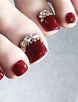 cheap -Burgundy Square Gold Bead Toenails Fake Nails With Nail Stickers 24 Pieces of Finished Nails