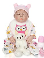 cheap -KEIUMI 22 inch Reborn Doll Baby & Toddler Toy Reborn Toddler Doll Baby Boy Gift Cute Lovely Parent-Child Interaction Tipped and Sealed Nails Full Body Silicone 23D35-C57-H94-T19 with Clothes and