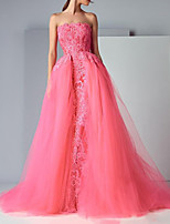 cheap -Ball Gown Elegant Floral Engagement Formal Evening Dress Strapless Sleeveless Sweep / Brush Train Tulle with Embroidery 2020