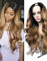 cheap -Remy Human Hair Wig Long Body Wave U Part Multi-color Fashion For Black Women U Part Brazilian Hair Women's Ombre Black / Medium Auburn 8 inch 10 inch 12 inch