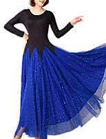 cheap -Ballroom Dance Dress Pleats Paillette Women's Training Performance Long Sleeve Polyester