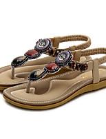 cheap -Women's Sandals Summer Flat Heel Round Toe Daily PU Almond / Black / Pink