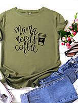 cheap -Women's T-shirt Letter Print Round Neck Tops 100% Cotton Basic Summer Wine White Black
