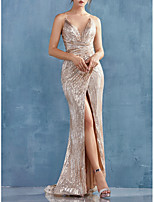 cheap -Mermaid / Trumpet Sexy Sparkle Engagement Formal Evening Dress V Neck Sleeveless Sweep / Brush Train Sequined with Ruched Split 2020