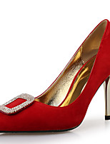 cheap -Women's Heels Pumps Pointed Toe Wedding Party & Evening Rhinestone Crystal Suede Black / Red / Brown