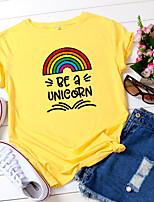 cheap -Women's T-shirt Rainbow Letter Print Round Neck Tops 100% Cotton Basic Summer Wine White Yellow