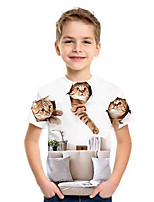 cheap -Kids Boys' Basic Cat Animal Print Short Sleeve Tee White