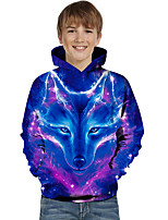 cheap -Kids Toddler Boys' Active Basic Wolf Geometric Color Block Animal Print Long Sleeve Hoodie & Sweatshirt Blue
