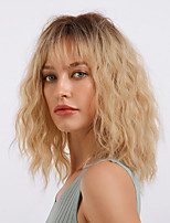 cheap -Synthetic Wig Bangs Curly Loose Curl Neat Bang With Bangs Wig Medium Length Ombre Blonde Synthetic Hair 18 inch Women's Cosplay Women Synthetic Blonde Ombre HAIR CUBE