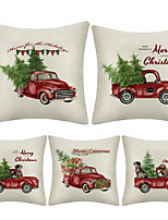 cheap -1 Set of 5 pcs Christmas Series  Decorative Linen Throw Pillow Cover 18 x 18 inches 45 x 45 cm