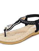 cheap -Women's Sandals Summer Flat Heel Open Toe Daily PU Almond / Black