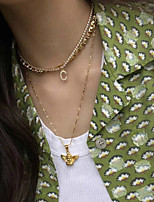 cheap -Women's White Cubic Zirconia Choker Necklace Pendant Necklace Classic Letter Initial Zircon Alloy Gold 21 cm Necklace Jewelry For Gift Birthday Party Festival / Chain Necklace / Chain Necklace