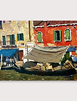 cheap -IARTS®Hand Painted Little harbour Oil Painting   with Stretched Frame For Home Decoration