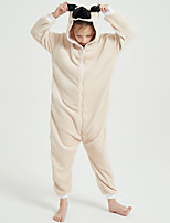 cheap -Kid's Kigurumi Pajamas Dog Onesie Pajamas Flannel Fabric Khaki Cosplay For Boys and Girls Animal Sleepwear Cartoon Festival / Holiday Costumes / Leotard / Onesie