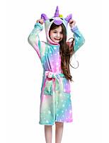 cheap -Kid's Kigurumi Pajamas Bathrobe Oodie Unicorn Flying Horse Onesie Pajamas Flannelette Rainbow Cosplay For Boys and Girls Animal Sleepwear Cartoon Festival / Holiday Costumes