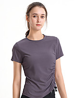 cheap -Women's T shirt Tee / T-shirt Black White Drawstring Crew Neck Solid Color Cute Sport Athleisure T Shirt Short Sleeves Breathable Quick Dry Comfortable Yoga Exercise & Fitness Running Everyday Use