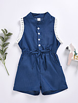cheap -Kids Toddler Girls' Active Basic Daily Wear Festival Solid Colored Lace up Sleeveless Regular Regular Clothing Set Blue