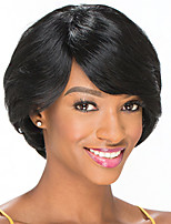 cheap -Remy Human Hair Wig Short Straight Pixie Cut Side Part Natural Classic Women Sexy Lady Capless Malaysian Hair Women's Natural Black #1B 6 inch