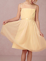 cheap -A-Line Round Knee Length Tulle Junior Bridesmaid Dress with Tier