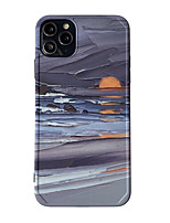 cheap -Case For Apple scene graph iPhone 11 11 Pro 11 Pro MaxPhoto frame private model series oil painting sunrise pattern TPU material IMD process fine matte mobile phone case