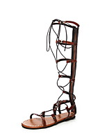 cheap -Women's Sandals Roman Shoes / Gladiator Sandals Summer Flat Heel Open Toe Daily PU Black / Brown