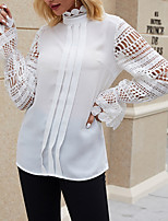 cheap -Women's Blouse Solid Colored Standing Collar Tops Summer Beige