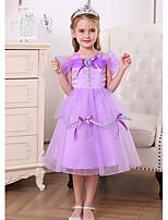 cheap -Princess Belle Rapunzel Dress Flower Girl Dress Girls' Movie Cosplay A-Line Slip Purple Dress Halloween Children's Day Masquerade Polyester