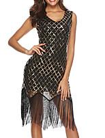 cheap -The Great Gatsby Roaring 20s 1920s Summer Dress Women's Sequins Tassel Fringe Snakeskin Costume Black / Blue Vintage Cosplay Party Evening Causal Tea Party Sleeveless Asymmetrical Sheath / Column