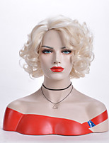 cheap -Synthetic Wig Body Wave Asymmetrical Wig Medium Length White Synthetic Hair 12 inch Women's Party White