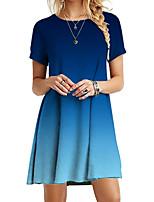 cheap -Women's Sheath Dress Knee Length Dress - Short Sleeve Tie Dye Summer Work Vintage 2020 Blue Red Blushing Pink Green Gray S M L XL XXL XXXL