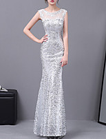 cheap -Mermaid / Trumpet Elegant Sparkle Wedding Guest Formal Evening Dress Illusion Neck Sleeveless Floor Length Lace with Appliques 2020