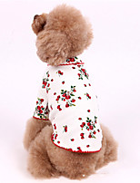 cheap -Dog Costume Shirt / T-Shirt Pajamas Flower Casual / Sporty Cute Party Casual / Daily Dog Clothes Warm White Pink Costume Cotton XXXS XXS XS S M L