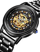 cheap -Men's Mechanical Watch Automatic self-winding Modern Style Stylish Skeleton Water Resistant / Waterproof Stainless Steel Analog - Black / Silver Black+Gloden Golden+Silver