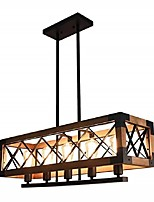 cheap -QIHengZhaoMing 5-Light 80 cm Island Design Pendant Light Wood / Bamboo Wood / Bamboo Painted Finishes Vintage 110-120V 220-240V