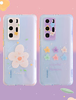 cheap -Case for Huawei P 30 30pro 40 40pro Mate 20 20pro 30 30pro Transparent Back Cover Word Phrase Cartoon Flower TPU