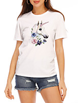 cheap -Women's T-shirt Graphic Prints Round Neck Tops Slim 100% Cotton Basic Top White