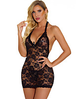 cheap -Women's Lace Suits Nightwear Solid Colored Black S M L