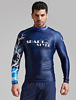 cheap -Men's Rash Guard Elastane Top Breathable Quick Dry Long Sleeve Swimming Diving Water Sports Autumn / Fall Spring Summer / Stretchy