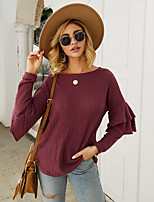 cheap -Women's Casual / Daily Solid Colored Pullover Long Sleeve Sweater Cardigans Boat Neck Fall Winter Wine Blushing Pink