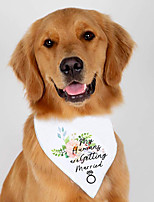 cheap -Dog Cat Bandanas & Hats Dog Bandana Dog Bibs Scarf Floral Botanical Letter & Number Party Cute Wedding Party Dog Clothes Adjustable White Costume Polyster / Birthday / Birthday