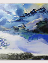 cheap -IARTS Hand Painted Snow Mountain Oil Painting with Stretched Frame For Home Decoration With Stretched Frame
