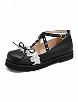 cheap -Girls' Flats Flower Girl Shoes PU Comfort Loafers Big Kids(7years +) Bowknot / Buckle White / Black / Red Fall / Party & Evening